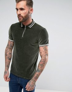 Read more about Asos polo shirt in cord with zip neck and tipping - khaki