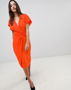 Read more about Asos design twist midi dress with kimono sleeve - orange red