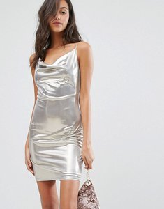 Read more about Miss selfridge silver cowl neck cami dress - silver