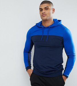 Read more about Asos tall muscle hoodie in poly tricot with colour block - navy saphire
