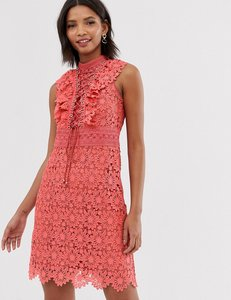 Read more about Forever new lace a line mini dress with lace up front in coral