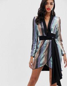 Read more about Asos design tux mini dress in stripe sequin embellishment