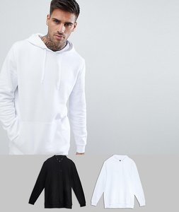 Read more about Asos longline hoodie 2 pack black white save - black white