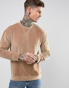 Read more about Religion velour sweatshirt with pocket - camel