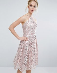Read more about Chi chi london cutwork midi dress in metallic - blush silver