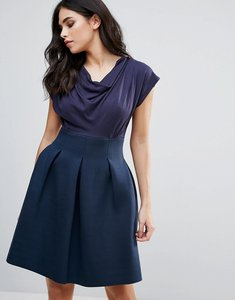 Read more about Closet london skater dress with ruched neck - navy