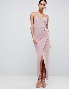 Read more about Asos design slinky drape maxi dress - mink