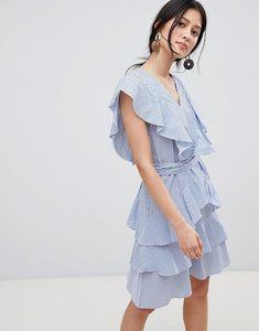 Read more about Y a s frill detail tiered mini dress in blue