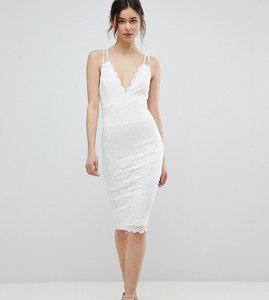 Read more about City goddess tall scalloped edge lace midi dress - white