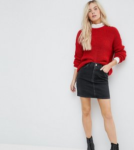 Read more about Asos petite denim original high waisted skirt in washed black - washed black