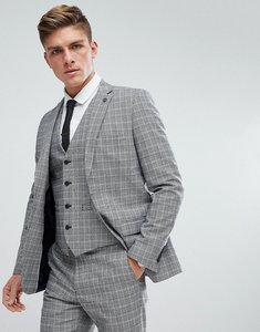 Read more about French connection prince of wales blue check slim fit suit jacket - grey