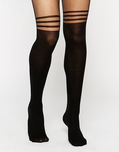 Read more about Asos 3 stripe over the knee tights with support - black