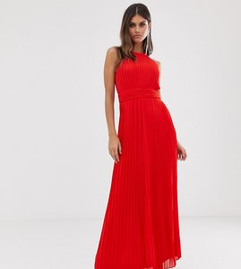 Read more about Tfnc high neck pleated maxi dress in red
