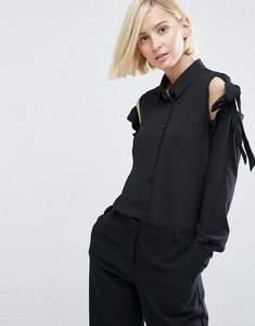 Read more about Asos blouse with tie cold shoulder - black