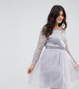 Read more about Little mistress plus lace bardot skater dress with tulle skirt - grey