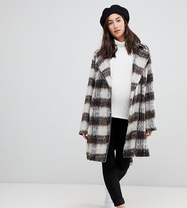Read more about Mamalicious check wool zip detail coat - multi