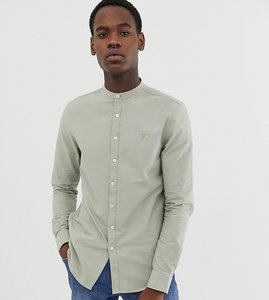 Read more about Farah brewer slim fit grandad collar oxford shirt in green - green