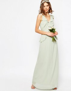 Read more about Asos wedding frill detail maxi dress - green