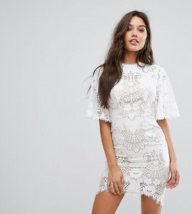 Read more about Love triangle allover lace open back mini dress with fluted sleeve detail - white