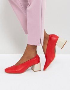 Read more about Stradivarius block heel pointed shoe - red