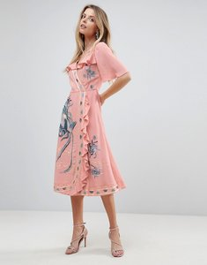 Read more about Asos premium embroidered ruffle wrap midi dress - pink