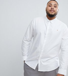 Read more about Farah brewer slim fit buttondown shirt in white - white