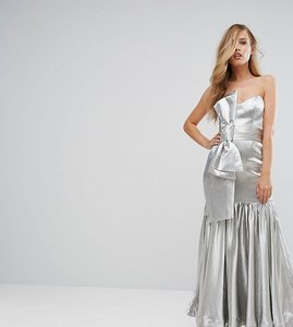 Read more about Fame and partners fitted maxi dress with tie front detail - silver