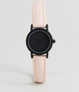 Read more about Asos curve mini black face and blush strap watch - multi