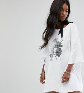 Read more about Milk it vintage oversize t-shirt dress with choker tie - white