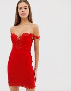 Read more about Rare london crochet trim bardot dress - red