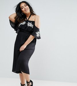 Read more about Diya cold shoulder frill jumpsuit with floral detail - black