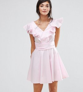 Read more about Closet london cotton mini skater dress with frill - pink