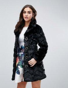 Read more about Qed london faux fur coat - black