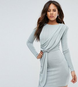 Read more about Asos tall asymmetric shoulder pad bodycon mini dress - mint