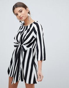 Read more about Prettylittlething stripe key hole tie front dress - multi