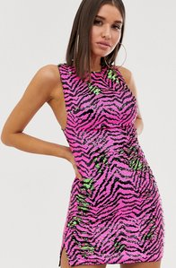 Read more about Club l london two tone sequin mini dress in contrast zebra multi