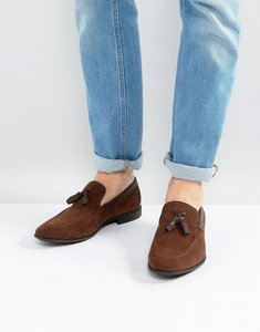 Read more about Asos loafers in brown faux suede with tassel - brown