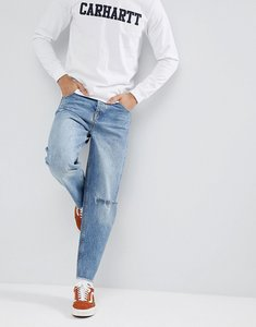 Read more about Asos design skater jeans in mid wash blue with rips - mid wash blue