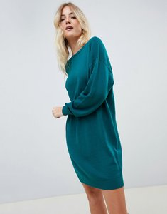 Read more about Asos design jumper dress with scoop back in eco yarn - dark green