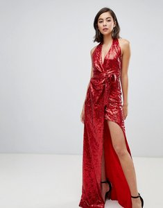 Read more about City goddess halter neck sequin maxi dress with split detail - red