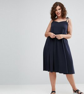 Read more about Asos curve midi sundress with tie straps - navy