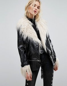 Read more about Neon rose longline biker jacket in high shine vinyl with faux mongolian fur - black