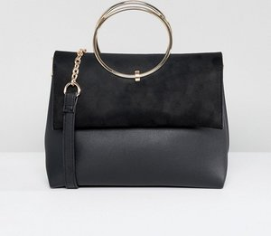 Read more about New look ring detail metal handle bag - black