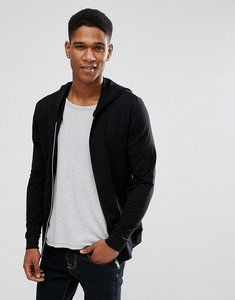 Read more about Asos lightweight muscle zip up hoodie in black - black