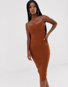 Read more about Lipsy square neck bandage midi dress with strappy back in ginger