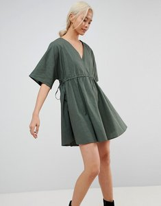 Read more about Asos v front v back smock dress with ruched tie detail - forest green