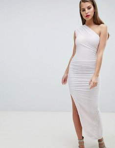 Read more about Forever unique one shoulder mesh aysmetric dress - white