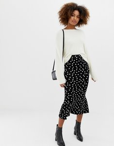 Read more about Asos design midaxi skirt with kickflare in polka dot - black white