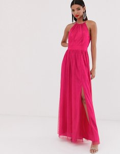 Read more about Little mistress gathered neck pleated maxi dress in fuschia