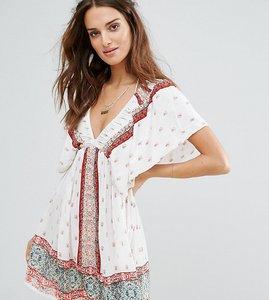 Read more about Akasa ruffle shoulder beach dress - pink print